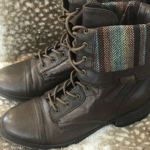 Women's Brown Leather Combat Style Indie Boots